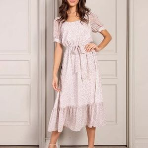 NWT Senlis Country Floral Lucia Scoop Neck Midi, S